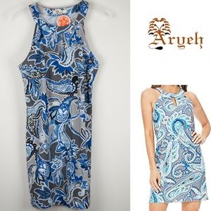 Aryeh Paisley Blue Grey Dress Sleeveless NWT Large